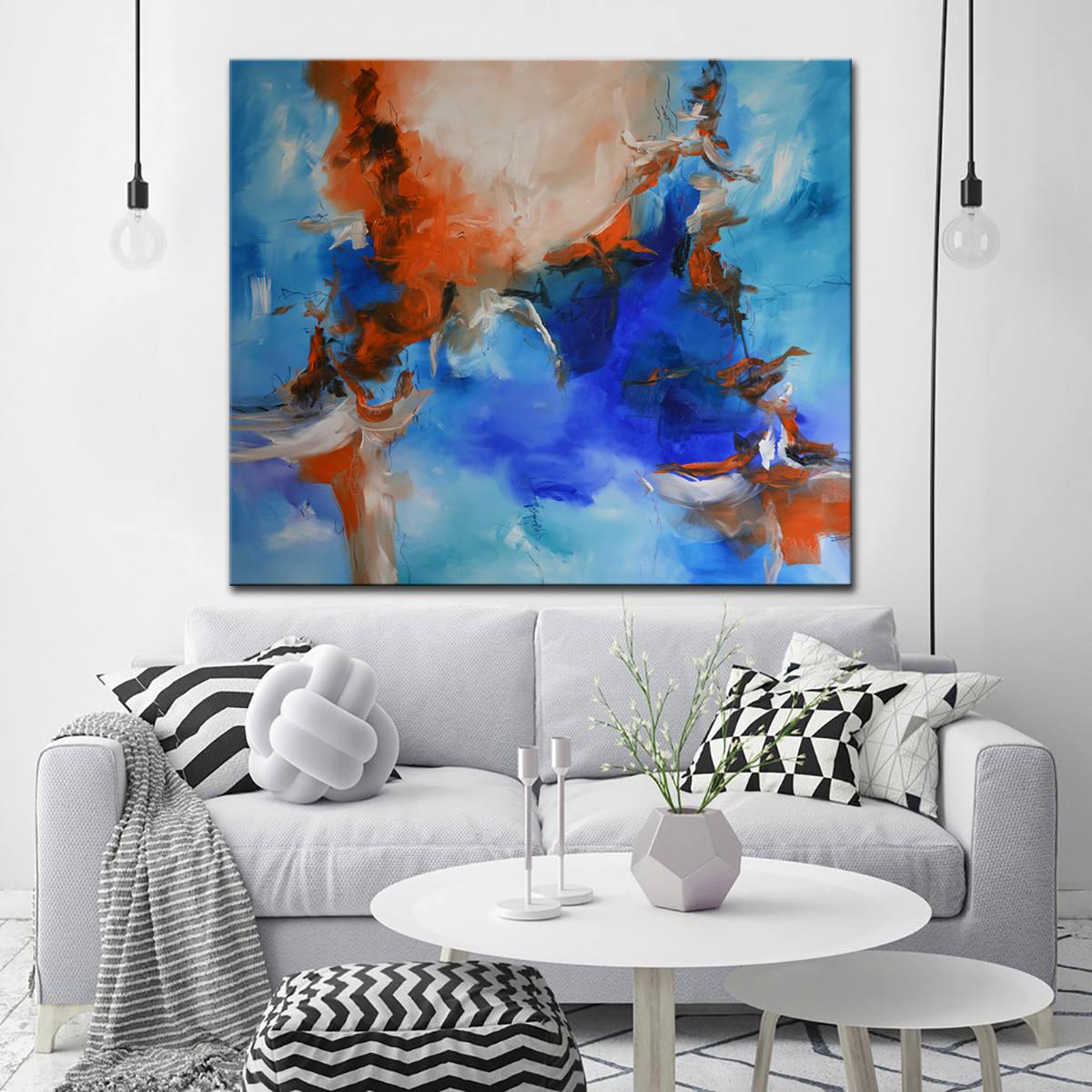 Kobalt blau abstrakte Malerei Leinwand blau orange