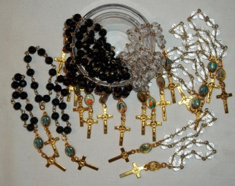 Sale - lot of 10 Black or Clear Pocket Rosaries, 6mm round, Handmade Pocket Rosary, Communion, Baptism, Religious favors