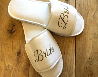 Personalised wedding slippers, for bride and bridesmaids, perfect getting ready attire for the bridal party, personalised to your wedding