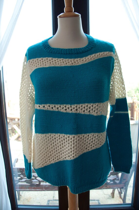 Handknitted Merino Jumper in Turquoise and Cream in Unusual Pattern