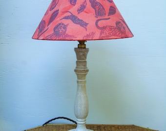 Hand screen printed organic cotton coolie lampshade