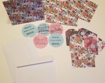 4 Handmade all occasion cards. Stationery set with 5 occasion stickers and 4 matching gift tags.  gift for teachers, friends.