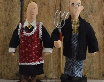 American Gothic Dolls Americana Art Miniature Collectible Set Farm Theme