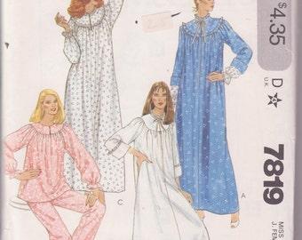 McCalls 7819, Women Nightgowns, Pajamas PJs Sleepwear, Sewing Pattern, Size Medium, Factory Folded Uncut