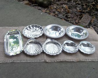 8 Vintage Silver Plate Trays Vanity Dishes Soap DIsh Shop Display French Country Wedding Decor Table Settings Set of 8