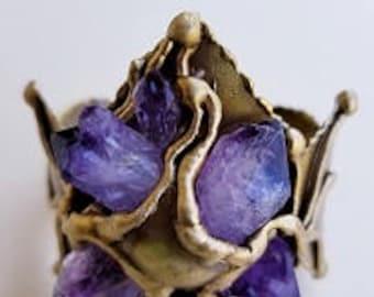 Brass Cuff Bracelet with Amethyst
