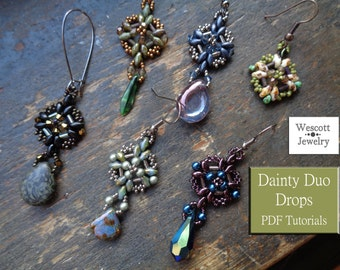 Pattern for Dainty Duo Drops Earrings and Pendants with SuperDuos and Bugle Beads