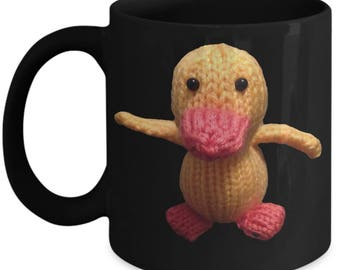 Fun Gift! Really Cute!  Ducky Duck Black Mug!!! Cheerful and Happy!! Great Gift for Adult AND Kids!
