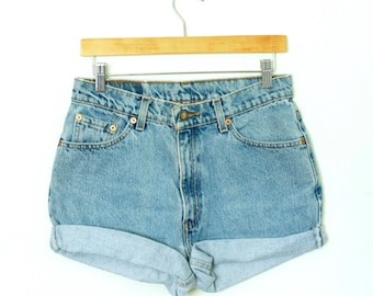 Vintage 90s Levi's Light/Medium Blue Wash High Waisted Rise Cut Offs Cuffed Rolled Jean Denim Shorts – Size 28/29
