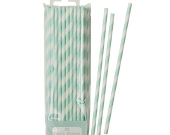 Mint and white striped paper straws 30 pack, birthday party, wedding straws, baby shower, christening, hen party, bachelorette party