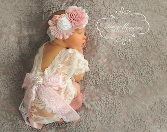 Newborn Prop~Lace Romper~Baby Girl Clothes~Newborn Coming Home Outfit~Baby Romper~Baby Girl Outfit~Photo Prop Baby~Newborn Baby Girl Outfit