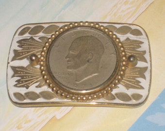 Coin Belt Buckle, Heavy Weight, Gentleman's Vintage Silver Coin, Two-Tone Belt Buckle, Coin, CLEARANCE