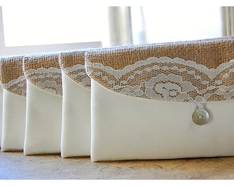 burlap bridesmaid gift White set of 6 7 8 9 burlap lace Clutch Purse Bag rustic Travel Beach Wedding Accessory Wedding Bridesmaid Gift