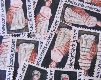 Doll Face 30 Vintage US Postage Stamps John Singleton Copley Fine Art Colonial New England Scrapbooking Ephemera Frontier Kentucky Philately