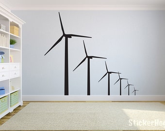 "Windmills Renewable Energy Wind Turbine Wall Decal for Home or Office 36"" x 38"""