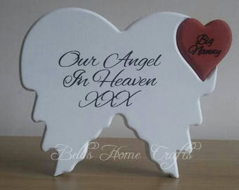Angel wings with heart, Memorial, remembrance, personalised