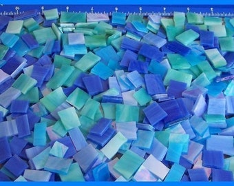Mosaic Tiles 500 BLUES mix Stained Glass Mosaic Tile