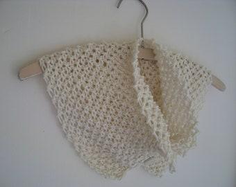 Winter white cotton knit buttoned cowl