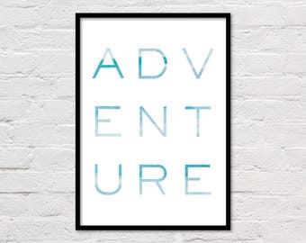 Travel Art, Adventure Quote, Large Poster, Blue Wall Art, Printable Quotes, Boy Room, Blue Art Prints, Nursery Decor, Digital Download