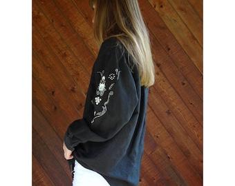 Black Western Jewel Embellished Woven Shirt - Vintage 90s - M/L