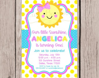 PRINTABLE You are My Sunshine Birthday Party Invitation / Sunshine Birthday Invitation for Any Age / Pink Yellow and Aqua Blue / You Print
