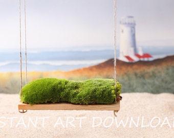 Nursery Swing Backdrop Beach Lighthouse Ocean Background Digital Downloads Instant Art Baby Photography Newborn Prints Studio Prop Art