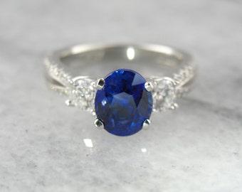 Modern Sapphire and Diamond Engagement Ring YC6KVR-N
