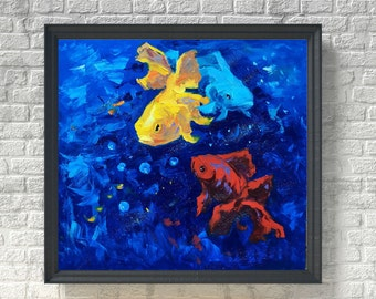 Fish Painting Oil Painting on Canvas Sea Bottom Ocean Painting Original Painting Beach Home Decor Office Wall Art Boy Room Gifts Girls Gift