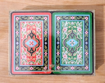 Vintage 1960s Hallmark Red and Green Floral Playing Cards with a plastic clear and black box