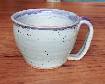 Light blue and purple ceramic mug (brown speckle clay, handmade, pottery)