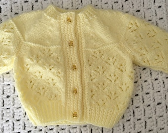 Lemon yellow hand knitted cardigan with teddy bear buttons
