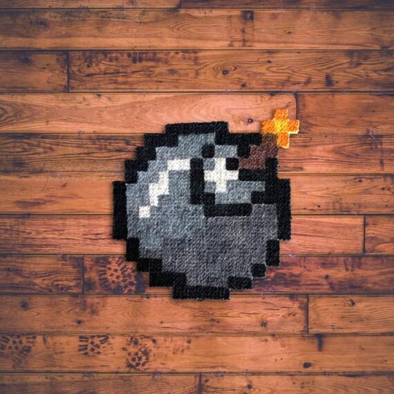 bomb carpet pixel art hand painted. Black Bedroom Furniture Sets. Home Design Ideas