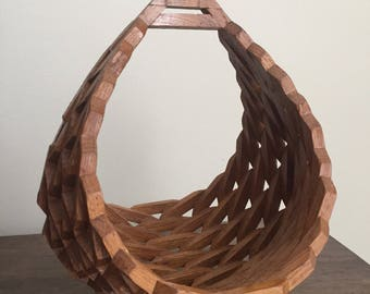 Vintage 1970s Wooden Geometric Basket/Planter
