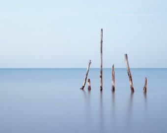 Minimalism landscape photography print. Zen modern coastal art. Large unframed ocean photo. Calming meditation decor for relaxing bedroom.