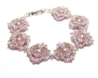 PDF beading tutorial pattern - Perla Rosa bracelet - 6mm Swarovski pearls