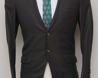 1960s men's brown sharkskin wool blazer/ 60s men's brown sharkskin blazer/ Custom