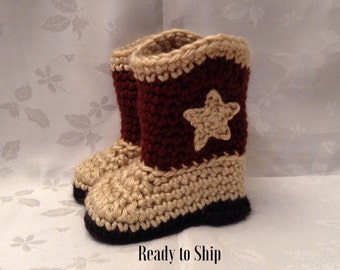 Baby Cowboy Boots Ready to Ship  Brown and Tan Crochet baby cowboy booties 3 to 6 month Infant Booties Pregnancy Reveal