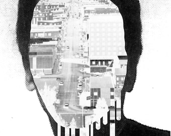 Dark art print Black and White Surreal artwork Collage Surrealist Portrait Surrealism Lowbrow Contemporary Fine art prints Giclee