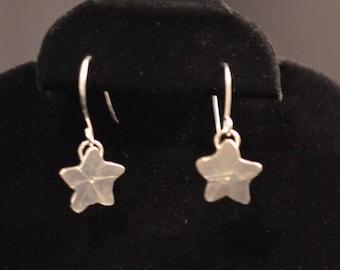 Handmade Sterling Silver star shaped dangle earrings