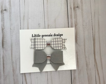 Grey houndstooth set| Faux leather| felt fabric