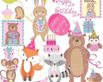 Birthday Woodland Animals Clipart-Woodland Animals Birthday Clip Art-Birthday Party-Racoon-Bear-Rabbit-Fox-Mouse-Owl-Cake-BUY2GET1MOREFREE