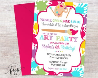 Art Party Invitations - Art Party Invites - Art Birthday Invitations - Art Birthday Invites - Girls Art Party - Painting Party - Craft Party