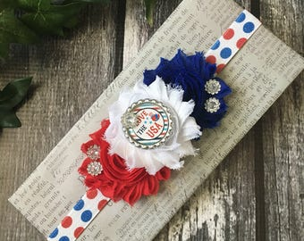 Red White Blue Baby Girl Headband, Fourth of July Baby Headband, Patriotic Headband, 4th of July Headband, Stars and Stripes, July 4th Baby