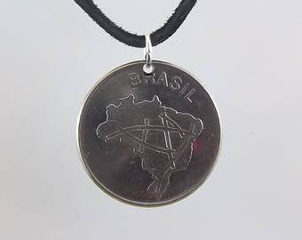 1984 Brazil Coin Necklace, 10 Cruzeiros, Coin Pendant, Mens Necklace, Womens Necklace, Leather Cord, Vintage