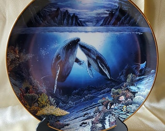 1991 Danbury Mint Moonlit Moment Collectors Plate from the Underwater Paradise Series