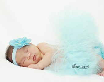 AQUA tutu....newborn tutu, baby tutu with matching headband, newborn photography ....birthday tutu