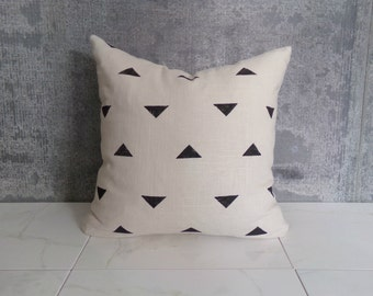Cream Linen Black Triangle Pillow Cover / Throw Cushion Geometric Block Printed Neutral Black White Minimalist Home Decor Mudcloth Inspired