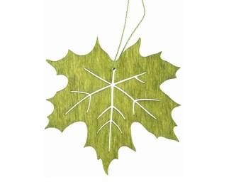 Wooden Hanging Maple Leaf, Green Leaf 10cm (3.94 inch), Autumn Leaf for Scrapbooking, Arranging, Decorating, Gluing, Embellishments
