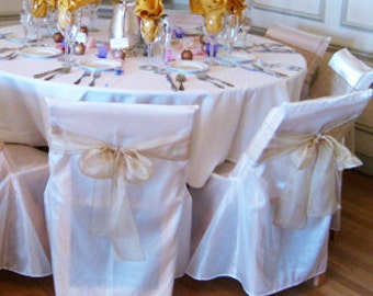 10 Folding chair covers for ceremony/ Ivory chair cover/ Sheer Sateen Pearlize Chair cover/ unique chair cover/ clearance
