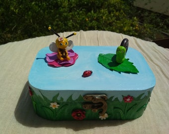 Wooden box decorated with miniature.